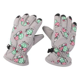 BolehDeals 1 Pair Winter Warm Breathable 2-4 Years Children Kids Ski Gloves Light Gray - Intl - intl