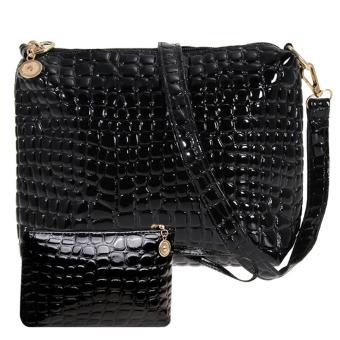 Women Crocodile PU Leather Shoulder Bag(black) (Intl)
