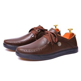 Giày lười nam Da Thật dây cột trẻ trung Giày Da Miền Trung VCTMT2LZD62N-1 ( Nâu )