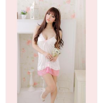 Váy ngủ trắng viền hồng kmfashion
