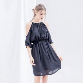 Đầm voan tay lỡ ngắn Xavia Clothes Bella (Đen)