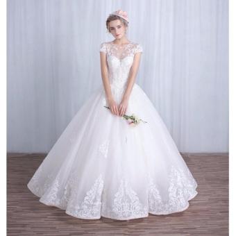Áo cưới cổ lưới ren, tay con xinh xắn như công chúa