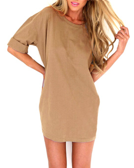 Zanzea Women Loose T Shirt A-line Dress Casual Blouse Khaki - Intl