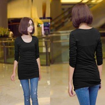 Sunweb Women O-neck Long Sleeve Fitting Long Style Render Shirt Tops 4 Colors ( Black ) - intl
