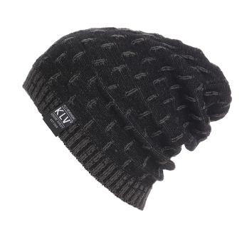 Winter Men Women Beanie Oversize Warm Hat Ski Knitted Cap (Black Gray) - intl