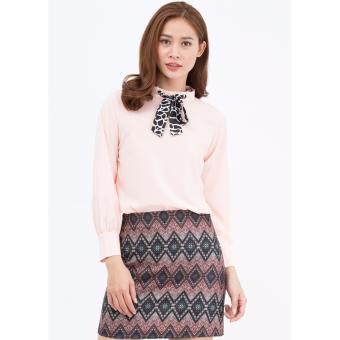 Set áo kiểu và chân váy chữ A Amun màu hồng SET149
