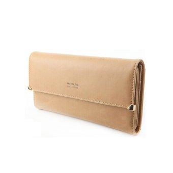 Leather Hasp Women Loving Heart Long Purse Wallet ID Credit Card Holder Khaki (Intl) - Intl - intl