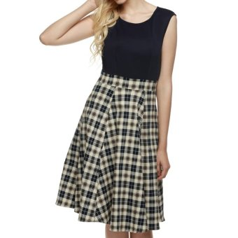 Cyber ACEVOG Women 1950s Vintage Style Retro Sleeveless Plaid Patchwork A-line Cocktail Party Midi Dress - Intl