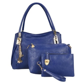 Linemart New Fashion Women 3pcs Synthetic Leather Embossing Bag Set ( Dark Blue ) - intl
