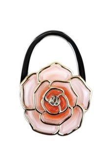HKS Rose Foldable Handbag Purse Tote Bag Table Hanger Hook Umbrella Hanging Holder Orange - intl
