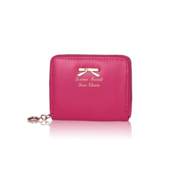 Women Fashion Cute Purse Clutch Wallet Short Small Bag PU Card Holder Hot Pink