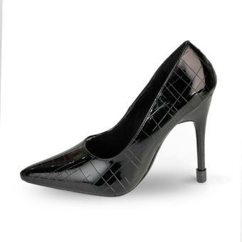 Giày Nữ Gót Nhọn 10cm Da Dập Vân rối HC1328 (Đen)
