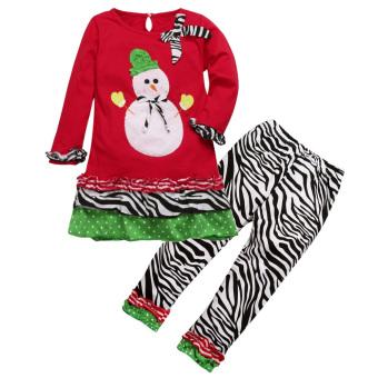 2Pcs Kids Christmas Costume Set Tops +Pants (Red)