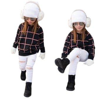 Toddler Kids Girls Outfit Clothes Warm Plaid T-shirt Tops+Jean Long Pants 1Set - intl