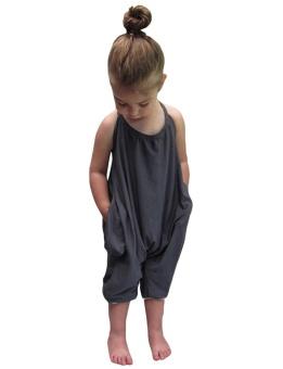Cyber Toddler Kids Baby Girl Summer Halter Rompe Harem Jumpsuit Bodysuit ( Grey ) - intl