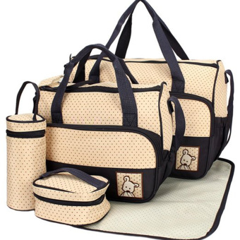 Vococal Practical Baby Diaper Bag Changing Mat Multifunctional 5-peice Set (Beige)