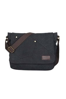 Men Boy Cotton Canvas Casual Shoulder Bag Crossbody Messager Bag Tablet PC Carry Bag Travel School Bag Black