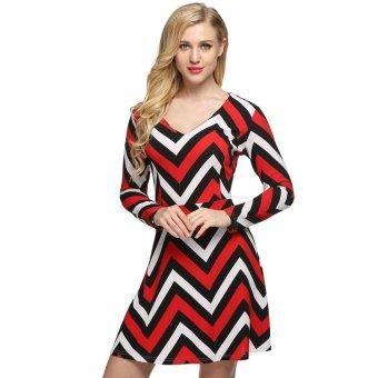 Sunweb FINEJO Women Casual V-Neck Long Sleeve Wave Print Swing Mini Dress ( Red ) - intl
