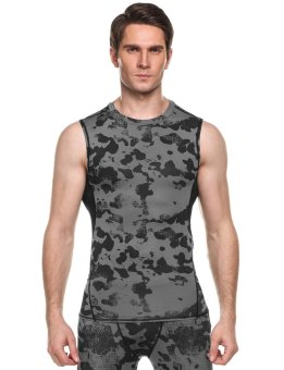 Linemart Men Quick Dry Sleeveless Stretchy Wicking Breathable Compression Tank Sportswear ( Grey ) - intl