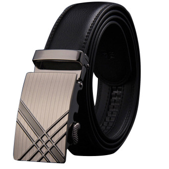 120cm Adjustable PU Leather Automatic Buckle Waist Belt Strap for Men Style 1 - intl