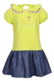 Đầm thun bé gái V.T.A.Kids BG40904-X (Xanh chuối)