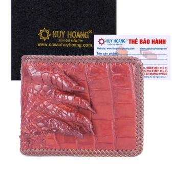 HL2718 - Bóp nam Huy Hoàng da cá sấu đan viền gù chân màu nâu đỏ