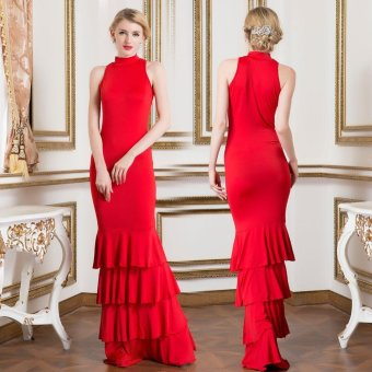 Women Sexy Foral Sleeveless Evening Party Formal Long Dress Gown Red L - intl