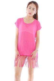 LALANG Chiffon Tassels Splicing Smock Overall Shirt Top (Pink) - Intl