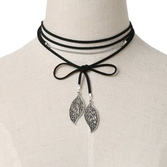 Necklaces European US Jewelry TradeFree all-match leaf fringed Necklace Alloy Hollow retro Necklace - intl