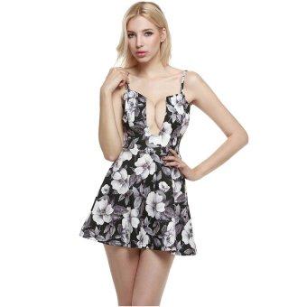 Cyber Zeagoo Women Sexy Spaghetti Strap Plunging V-Neck A-Line Skater Cocktail Dress ( Black + White ) - Intl