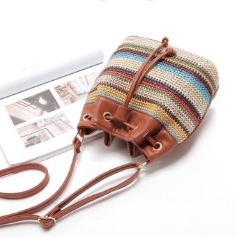 Women Leather Shoulder Bag Tote Purse Crossbody Messenger Bag Brown - intl