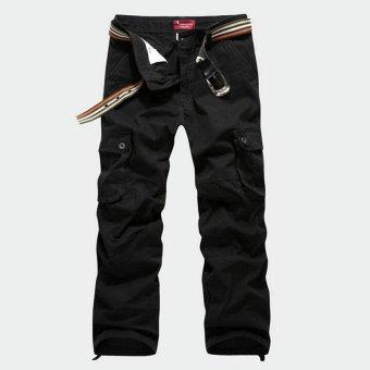 2017 HOT sale Mens Casual Pants Casual Men Pants Multi Pocket Cargo Pants Men Long Pants Plus size 30-44(Black) - intl