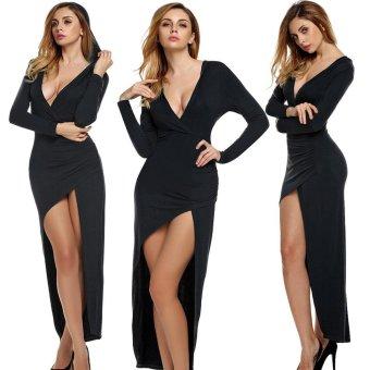 Sunweb Finejo Women Sexy V Neck Long Sleeve Hooded Slim High Slit Long Irregular Dress Party Casual ( Black ) - intl
