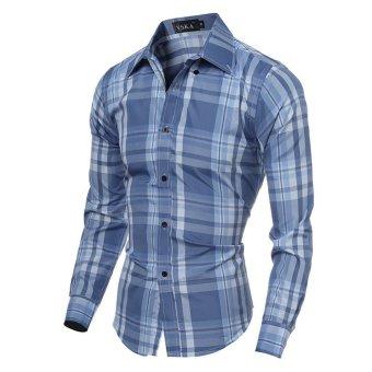 Mens Slim Casual Long Sleeve Shirts(Light Blue) - intl