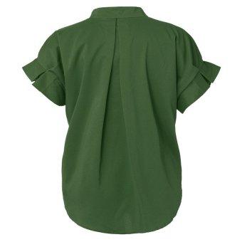 ZANZEA Sleeve Button Down Long Women V-Neck Batwing Shirt Blouses (Intl)