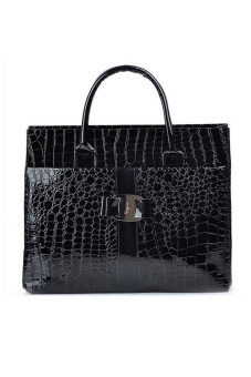 Women Ladies Large Capacity Stone Pattern PU Leather Tote Handbag Shoulder Messenger Bag Black