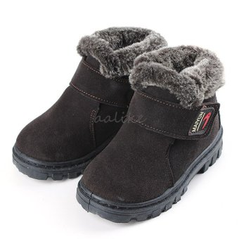 New Girls Boys Winter Warm Boots Kids Children Cotton Leather Shoes Snow Boots Coffee - intl