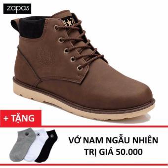 Giày Bốt Da Lộn Buộc Dây Zapas GB082 (Màu Nâu) + Tặng Vớ nam