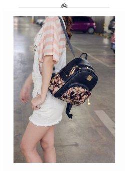 Rose Print Rivet Spoon Zipper Head Backpack(Pink) - intl