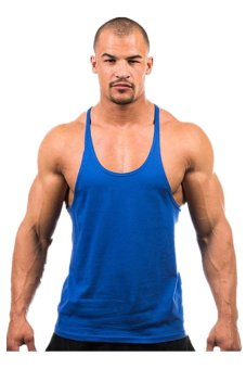 LALANG Fitness Sports Vest Tank Top Undershirt Royal Blue - intl