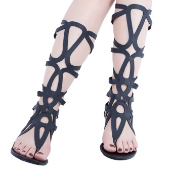 Sexy Hollow Out Solid Color Zipper Gladiator Sandals(Black) - intl