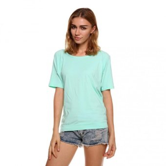 Sunweb Stylish Fashion Ladies Women Open Back Loose Short Sleeve O-neck Tops Blouse ( Light blue ) - intl