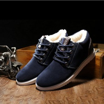 Mens Faux Suede Fur Lined Winter Lace Up Warm Ankle Boot Casual Shoes Cotton New Blue - intl