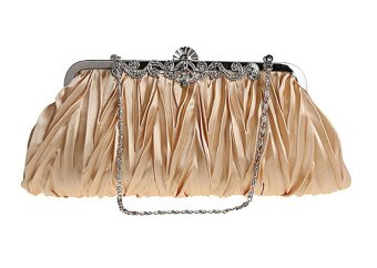 niceEshop Womens Vintage Satin Envelope Cocktail Evening Bag Party Handbag Gold - Intl