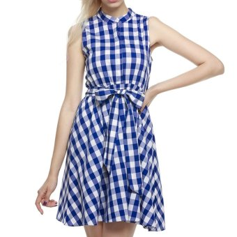 Cyber Finejo Women Summer Sleeveless Plaid Mini Shift Dress - Intl - Intl