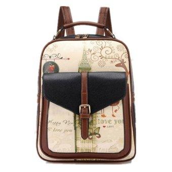 PU Leather Printing Backpack 2016 College Style Women's Backpack, School Bags for Teenagers, ladies bag women mochila Black - intl