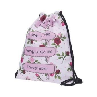 Fashion Unisex Backpacks 3D Printing Bags Drawstring Backpack Pink - intl
