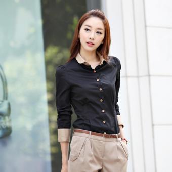 Áo sơ mi nữ trơn tay dài viền đơn giản công sở thời trang Urban Horizon FM0053 (Đen)