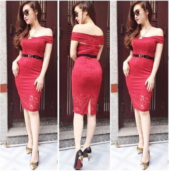 Đầm ren cao cấp thiết kế trễ vai màu đỏ | Đầm trễ vai