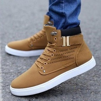 2016 Hot Fashion Mens Shoes Leather Shoes Casual High Top Shoes Canvas Sneakers - intl